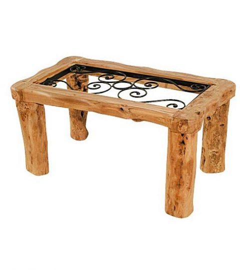 Rustic Low Living Room Table With Wrought Iron Nº1